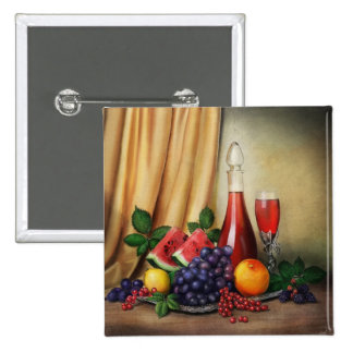 Classic still life with wine and fruits painting buttons