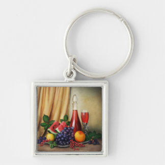 Classic still life with wine and fruits painting keychains