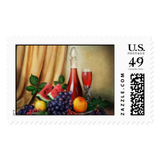 Classic still life with wine and fruits painting postage stamps