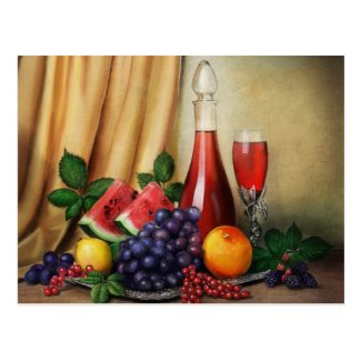 Classic still life with wine and fruits painting postcard