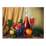 Classic still life with wine and fruits painting post card