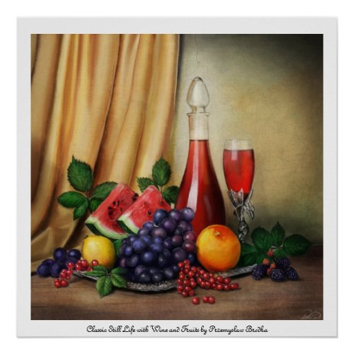 Classic still life with wine and fruits poster