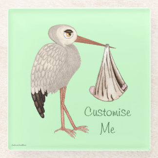 Classic Stork (Baby on the Way) Neutral 1 Glass Coaster
