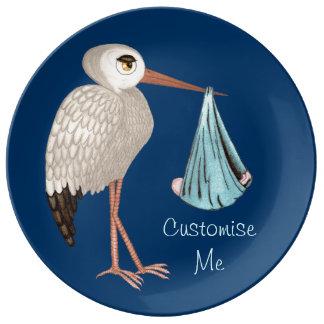 Classic Stork (Blue) 1 Dinner Plate