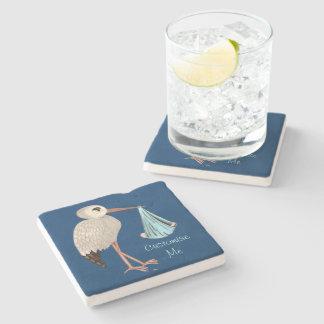 Classic Stork (Blue) 1 Stone Coaster