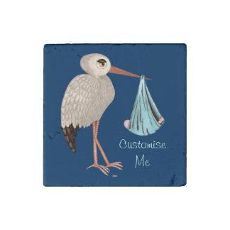 Classic Stork (Blue) 1 Stone Magnet