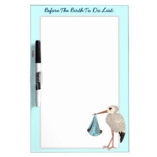 Classic Stork (Blue) 2 (Baby Shower) Dry-Erase Board