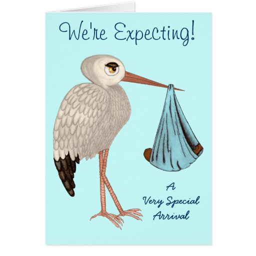 Classic Stork (Blue) 2 (Baby Shower) Greeting Card