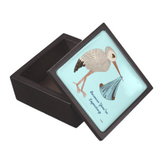 Classic Stork (Blue) 2 (Baby Shower) Jewelry Box