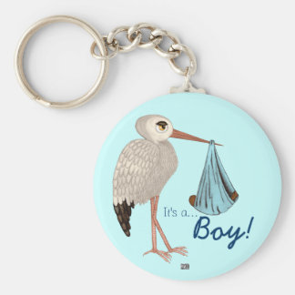 Classic Stork (Blue) 2 (Baby Shower) Keychain
