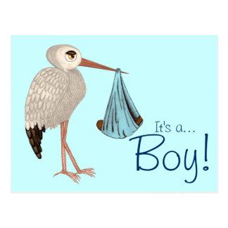Classic Stork (Blue) 2 (Baby Shower) Postcard