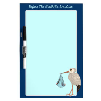 Classic Stork (Blue) (Baby Shower) Dry-Erase Board