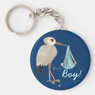 Classic Stork (Blue) (Baby Shower) Keychain