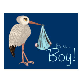 Classic Stork (Blue) (Baby Shower) Postcard