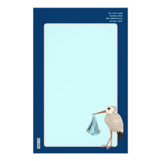 Classic Stork (Blue) (Baby Shower) Stationery