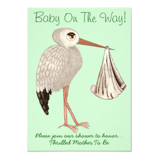 Classic Stork (Neutral) 1 (Baby Shower) Card