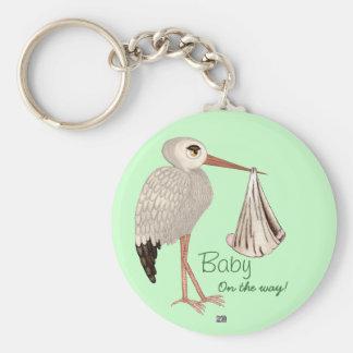 Classic Stork (Neutral) 1 (Baby Shower) Keychain