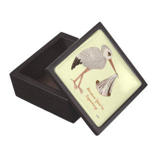 Classic Stork (Neutral) 2 (Baby Shower) Keepsake Box