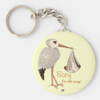 Classic Stork (Neutral) 2 (Baby Shower) Keychain