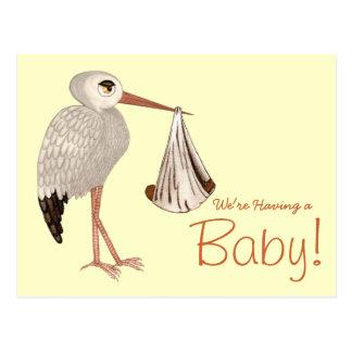 Classic Stork (Neutral) 2 (Baby Shower) Postcard