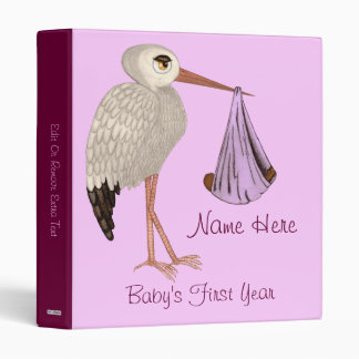 Classic Stork (Pink) 2 (Baby Shower) 3 Ring Binder