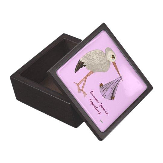 Classic Stork (Pink) 2 (Baby Shower) Jewelry Box