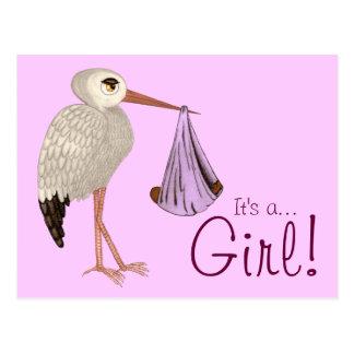 Classic Stork (Pink) 2 (Baby Shower) Postcard