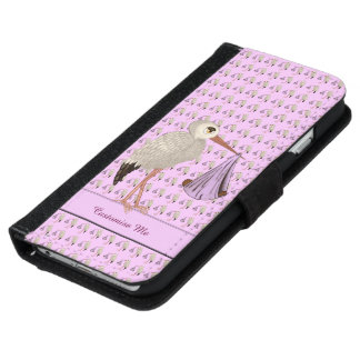 Classic Stork (Pink) 2 iPhone 6 Wallet Case