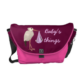 Classic Stork (Pink) (Baby Shower) Courier Bag