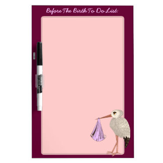 Classic Stork (Pink) (Baby Shower) Dry-Erase Board