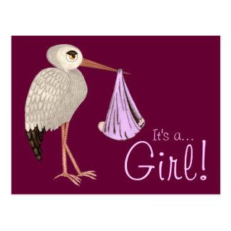 Classic Stork (Pink) (Baby Shower) Postcard