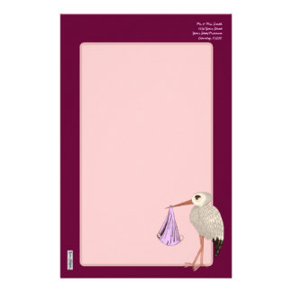 Classic Stork (Pink) (Baby Shower) Stationery