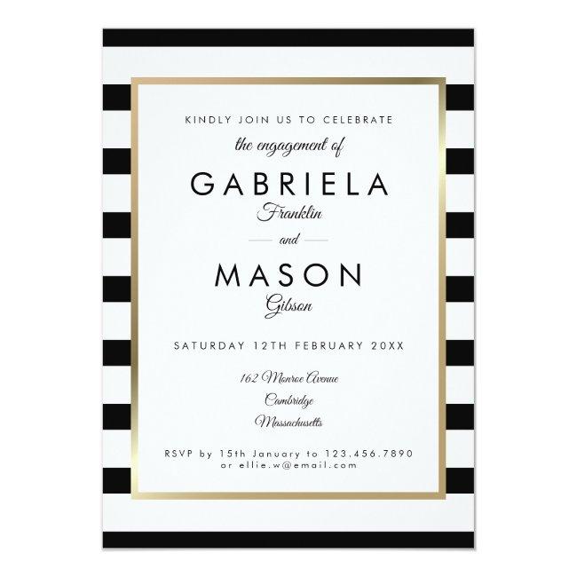 Classic Stripe Engagement Party | Faux Gold Foil Invitation