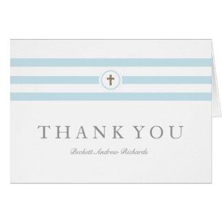 Classic stripe faux foil cross thank you card