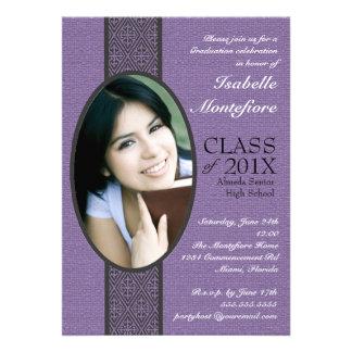 Classic Stripe Purple White Graduation Party Personalized Invites