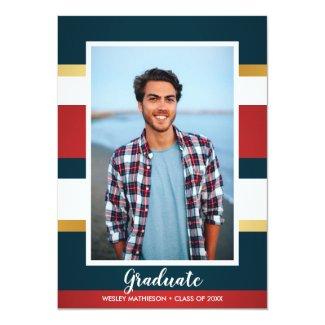 Classic Stripes Graduate Photo Graduation Party Card