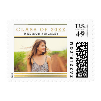 Classic Stripes Graduation Postage Stamp