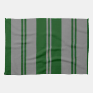 Classic Stripes in Grey & Hunter Green Kitchen Towels