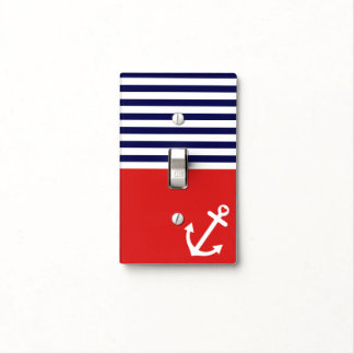 Classic Stripes Nautical Love Light Switch Plate