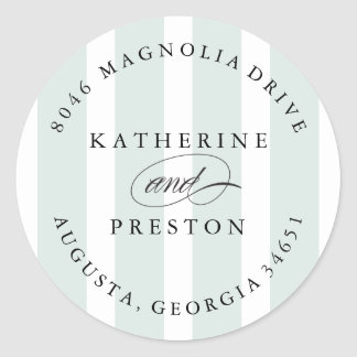Classic Stripes Wedding Monogram Address Label