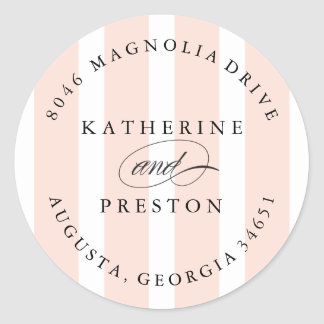 Classic Stripes Wedding Monogram Address Label Classic Round Sticker