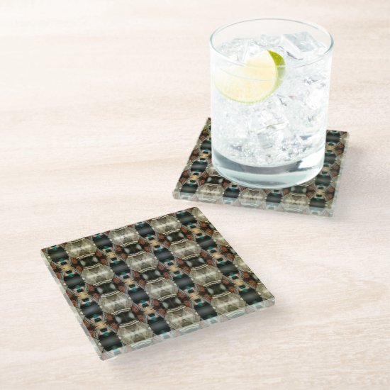 Classic Strong Large Digital Pattern  Glass Coaster