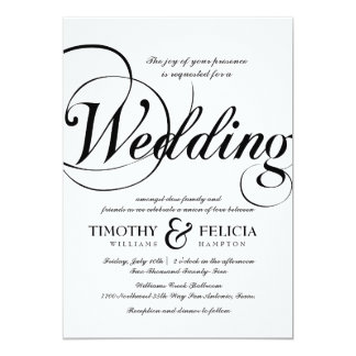 Classic Style Black and White Wedding Card