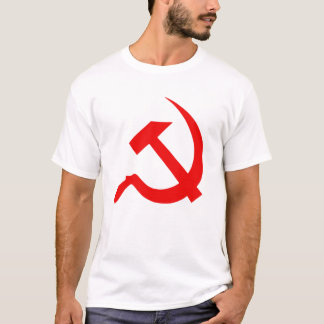 Classic Style Bright Red Hammer & Sickle on White T-Shirt