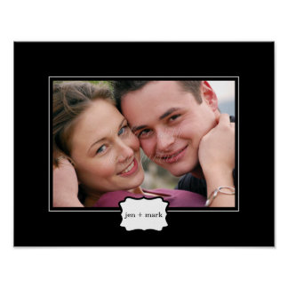 Classic Style Personalized Photo Mat - Black - Print