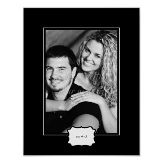 Classic Style Personalized Photo Mat - Black - Poster