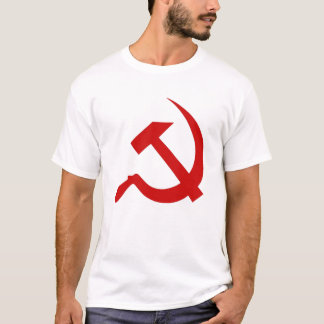 Classic Style Red Hammer & Sickle on White T-Shirt
