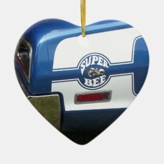 Classic Super Bee blue and chrome rear quarter Double-Sided Heart Ceramic Christmas Ornament