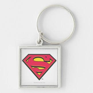 Classic Superman Logo Silver-Colored Square Keychain