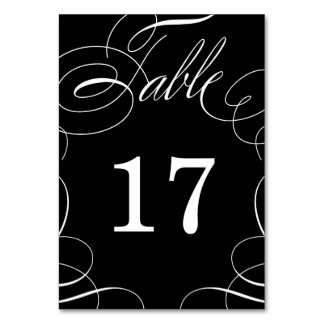 Classic Swash Wedding Table Number Card
